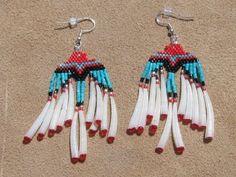 NATIVE AMERICAN BEADED EAGLE EARRINGS WITH DETALIUM by Beading4u  #beadwork   #jewelry #crafts