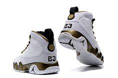 hot sale online cbb80 af1d9 Air Jordan 9 lovers shoes bronzing white