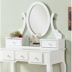 !!!!!!!!!!!!!Roundhill Furniture Ashley Wood Makeup Vanity Set with Mirror | Wayfair!!!!!!!!!!!!