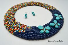 Turquoise butterfly beaded necklace Turquoise Necklace, Beaded Necklace, Handmade Jewelry, Butterfly, Accessories, Beaded Collar, Bowties, Diy Jewelry, Handmade Jewellery