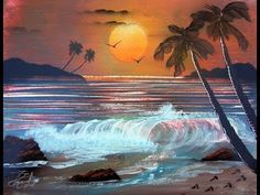 Ocean Sunset -Spray Paint Art http://www.spacepaintings.com/page/page/1393615.htm