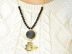 blue  pearl islamic necklace arabic Allah God gemstone