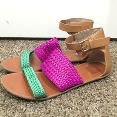 Dolce Vita pink teal and brown sandals size 8.5 Beautiful sandals. Bright pink and teal! Very clean! Some sign of wear on the inside of the heels. Dolce Vita Shoes Sandals