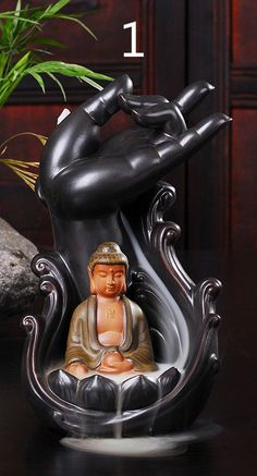 Creative Ceramic Incense Burner Smoke Backflow Censers Incense Coil Line Censer Buddha with Supplies Home Furnishing Articles