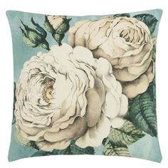 John Derian The Rose Swedish Blue Decorative Pillow design by Designers Guild Floral Cushions, Scatter Cushions, Cushions On Sofa, Throw Pillows, Designers Guild, Tricia Guild, Chic Bedding, Fabric Wallpaper, Pillow Design