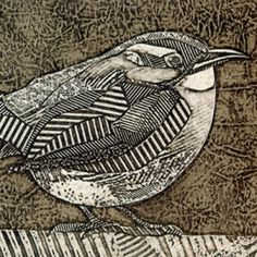 Kinglet #1 (Hand-Pulled Collagraph of Carolina Wren) – Try Handmade Gallery