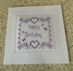 "Handmade completed Cross stitch Happy Birthday card lilac flowers 5.25"" x 6.75"" | eBay"