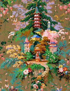 cineserie antique wallpaper illustrazione di FrenchFrouFrou
