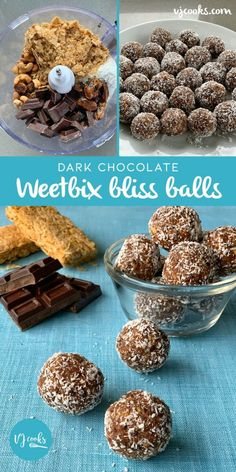 dark chocolate weetbix bliss balls Healthy Sweet Treats, Healthy Sweets, Healthy Bars, Healthy Protein, Healthy Food, Healthy Eating, Lunch Box Recipes, Snack Recipes, Lunchbox Ideas