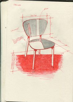 croquis - design - Doppio café chair bois et cuivre par Riku Tuppela notes not a FULL presentation but good interesting sketch