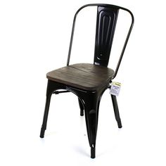 Marko Furniture Roma Metal Dining Chair Stackable Industrial Vintage Seat Bistro Kitchen Garden Chair (1 Chair, Black)