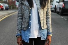moto jacket / chambray / T / outfit layers