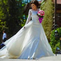 2016 Romantic Mermaid Wedding Dress With Detachable Train Lace Long Sleeve Scoop Neck Bow Bridal Dress Two Pieces Custom Made Wedding Gowns Short Wedding Dresses Gowns From Rosemarybridaldress, $145.55| Dhgate.Com