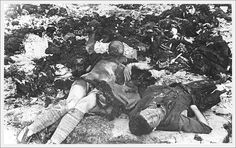 Partial charred remains of victims of the Nazi's at Klooga.