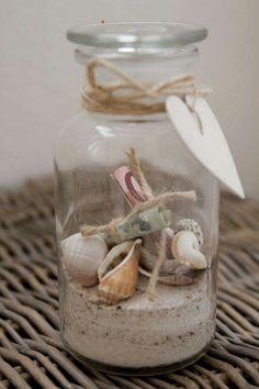 Geldgeschenk mit Muscheln und Sand