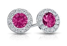 Created Pink Sapphire and CZ Halo Stud Earrings in Sterling Silver 2.00.ct.tw from LoveBrightJewelry at SHOP.COM