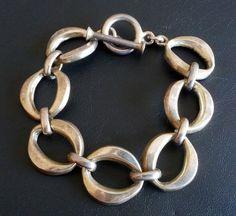 Signed 925 Sterling Silver Vintage Bracelet Oval Link Toggle HEFTY 37.8g 1118
