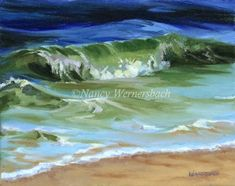 Nancy Wernersbach© Oil Second in my 8 x 10 wave series. Dream Beach Houses, Ocean Scenes, Big Waves, Artist Painting, Metropolitan Museum, Abstract Pattern, Original Art, Images, Watercolor