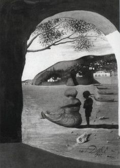 """""""Mysterious Mouth Appearing in the Back of My Nurse.""""  By Salvador Dali. Completion Date: 1941"""