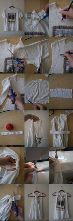 T-shirt to tank top conversion. Good idea for all of the shirts I have that are too big for me now. ----Great Idea, just be careful with the cuts cause my sleeves got cut a bit too short and the sleeves at the top were far to thin. by Kourtiné Wallace