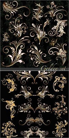2 sets of vector golden floral ornaments with some decorative swirls for your classic designs. Stencils, Motif Floral, Floral Patterns, Pretty Patterns, Tole Painting, Wood Carving, Embroidery Patterns, Floral Embroidery, Design Elements