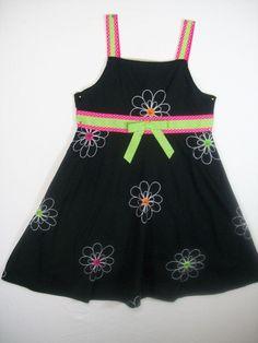 BLUEBERI BOULEVARD GIRLS SIZE 7 BLACK SUN DRESS 100% COTTON SUMMER EVERYDAY #BLUEBERIBOULEVARD #DressyEveryday