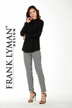 Frank Lyman 2017. Chic printed silhouette pants in black off white. Proudly Made in Canada