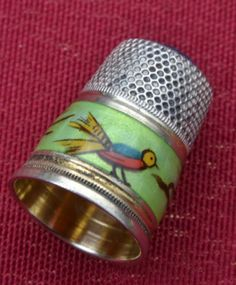 Antique 900 Sterling Thimble w Guilloche Enamel Band Topaz Cap Birds | eBay /  Feb 12, 2014 / US $122.49