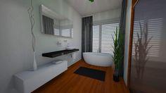 Modern bathroom with wood