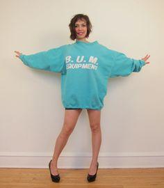 B.U.m. Equipment Sweatshirts | ... 80s Oversized Sweatshirt / Bum Sweatshirt / 1980s Blue Sweatshirt