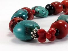 Turquoise and Coral Necklace   Under The Sea by RiverGumJewellery, $135.00