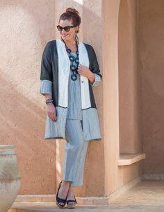 Kasbah+black/cream/silver+crushed+linen+coat,+vest+and+narrow+trouser