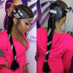 Low ponytail with latter braid - Long Ponytail Hairstyles, Hair Ponytail Styles, Clip Hairstyles, Black Girl Braided Hairstyles, Sleek Ponytail, Baddie Hairstyles, Weave Hairstyles, Curly Hair Styles, Side Ponytails