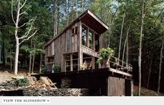 Rustic cabin in the woods - all reclaimed/salvaged materials