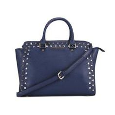Michael Kors Selma Top-Zip Studded Large Navy Satchels