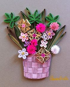 Quilling. Flowers in a basket. By Canan Ersöz.