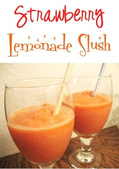 Strawberry Lemonade Slush Recipe! #strawberries #recipes