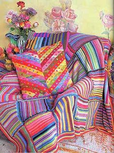 kaffe fassett: knit This photo got me hooked on Kaffe Fasset's designs, and inspired several knit blankets.  Great stash-buster, and still a favorite.