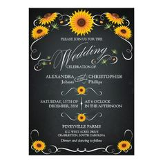 Shop Sunflower Chalkboard Floral Vintage Bold Wedding Invitation created by Ruxique. Chalkboard Wedding Invitations, Sunflower Wedding Invitations, Custom Invitations, Sunflower Weddings, Yellow Weddings, Invites, Wedding Sets, Elegant Wedding, Wedding Cards