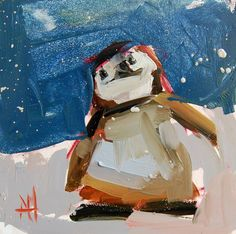 Baby Penguin no. 4 original bird oil painting by by prattcreekart