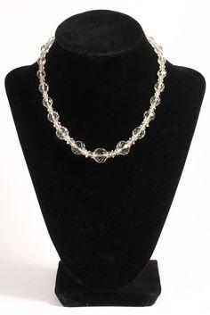"Vintage Art Deco Faceted Rock Cut Crystal Choker Beaded Necklace Estate Find 15"" #Choker"
