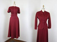 Vintage 40s Dress Suit  1940s Dress and Jacket  by jumblelaya, $268.00