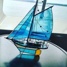Aqua de vitraux et gaff fil gréés voilier modèle grand OOAK …