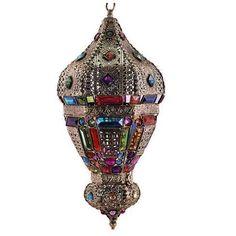 Lámpara de techo estilo árabe cristal color #decoracion #interiorismo #lamparas