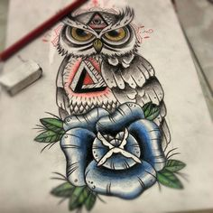 Owl tattoo design. #tattoo #tattoos #Ink