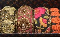 Fashion designer Sabyasachi Mukherjee's collection on display Photo: K. Silk Thread Bangles, Thread Jewellery, Fabric Jewelry, Hand Embroidery, Embroidery Designs, Sabyasachi Collection, Thread Bangles Design, Handmade Jewelry, Sari