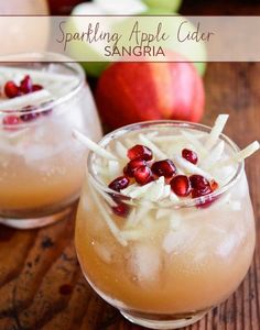 Raise your hand if you think every cocktail should have a little bubbly in it! We totally do, and that is why we love this Sparkling Apple Cider Sangria.  Ingredients: 2 apples, peeled, cored and thinly sliced 1/2 cup cognac 2 cups apple cider 750ml bottle cava (or other dry sparkling wine), chilled 1/4 cup pomegranate seeds  Directions: Add the apples to a large pitcher reserving about 1/2 cup for garnishing. Add the cognac, apple cider, and chilled cava. Stir. Fill the pitcher with ice…