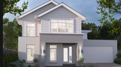 House Design: Madison - Porter Davis Homes New England Facade American Style House, American Houses, House Paint Exterior, Exterior House Colors, Facade Design, Exterior Design, Style At Home, Rendered Houses, Weatherboard House