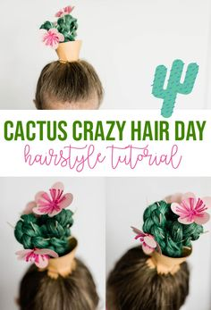 Take your crazy hair day hairstyle to the next level with this easy cactus crazy hair day look. So cute, easy, and unique! Take your crazy hair day hairstyle to the next level with this easy cactus crazy hair day look. So cute, easy, and unique! Crazy Hat Day, Crazy Hair Day Girls, Crazy Hair For Kids, Crazy Hair Day At School, Crazy Hair Day For Teachers, Little Girl Hairstyles, Hairstyles For School, Cool Hairstyles, Wedding Hairstyles