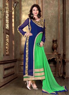 Party Green and Blue Faux Georgette Churidar Designer Suit